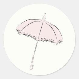 Pink Parasol Classic Round Sticker