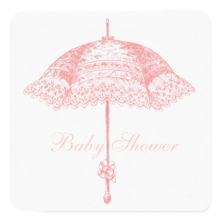 Pink Parasol Umbrella Baby Girl Shower 5.25x5.25 Square Paper Invitation Card
