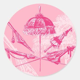 Pink Parasols Classic Round Sticker