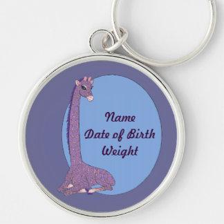 Pink Parfait Giraffe Silver-Colored Round Keychain