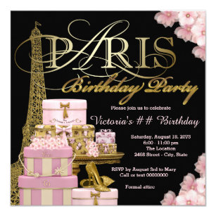 Paris birthday invitations announcements zazzle pink paris birthday party invitation filmwisefo