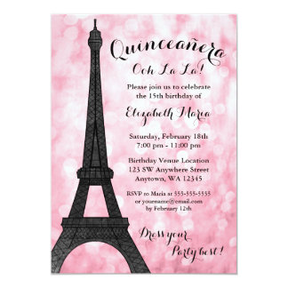 Pink Paris Bokeh Glitter Lights Quinceañera Card