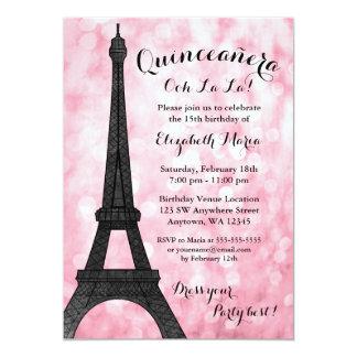 Pink Paris Bokeh Glitter Lights Quinceañera Card