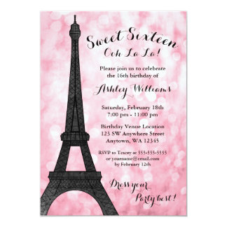 Pink Paris Bokeh Glitter Lights Sweet 16 Card