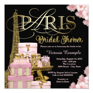 Pink Paris Bridal Shower Card