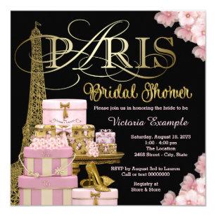 pink paris bridal shower invitation
