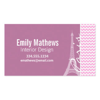Pink Paris Chevron Business Card Templates