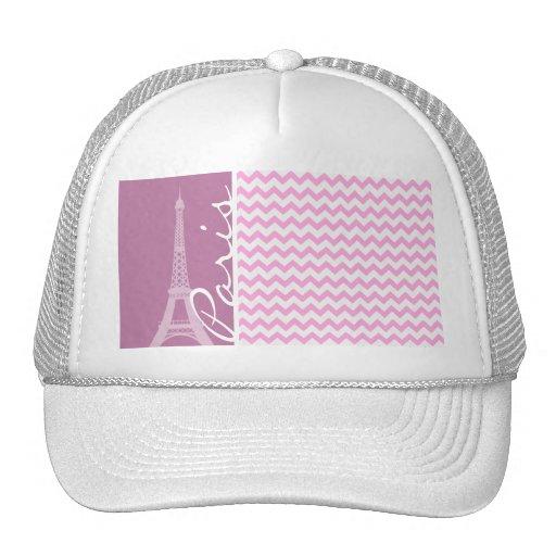 Pink Paris Chevron Mesh Hat