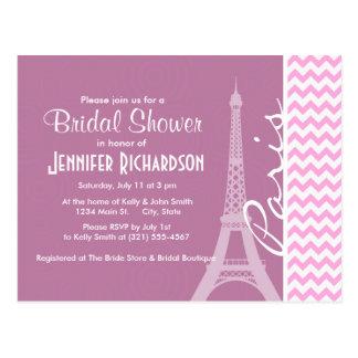 Pink Paris Chevron Postcard
