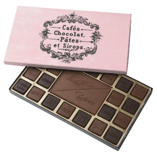 Pink Paris Customized Chocolate Box 45 Piece Box Of Chocolates