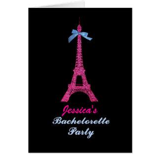Pink Paris Eiffel Tower Bachelorette Party invite Greeting Card