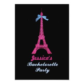 Pink Paris Eiffel Tower Bachelorette Party invite