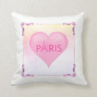 Pink Paris Eiffel Tower Cute Pink Heart Watercolor Throw Pillow