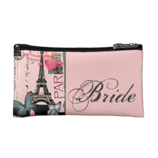 pink paris eiffel tower destination wedding cosmetic bag