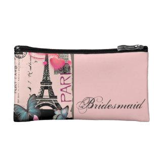 pink paris eiffel tower destination wedding cosmetic bag