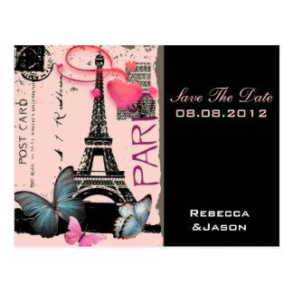 pink paris eiffel tower destination wedding postcard