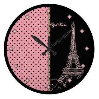 Pink Paris Eiffel Tower Round Wall Clock