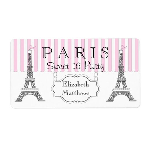 Pink Paris Eiffel Tower Sweet 16 Name Personalized Shipping Labels