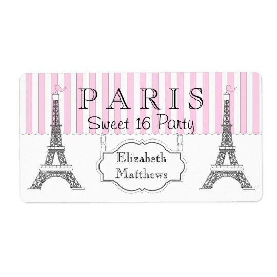Paris Eiffel Tower Pillow 16 X 16: Pink Paris Eiffel Tower Sweet 16 Name Label