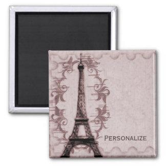 Pink Paris Grunge Magnet