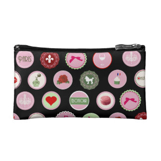 Pink Paris love girly pattern Cosmetics Bags