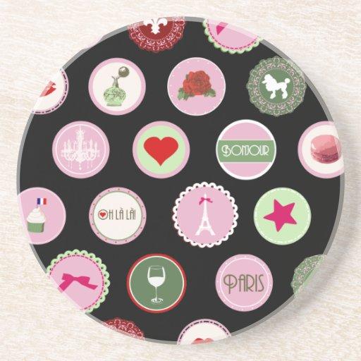 Pink Paris love girly pattern Beverage Coasters