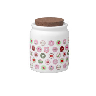 Pink Paris love girly pattern Candy Dishes