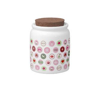 Pink Paris love girly pattern Candy Jars