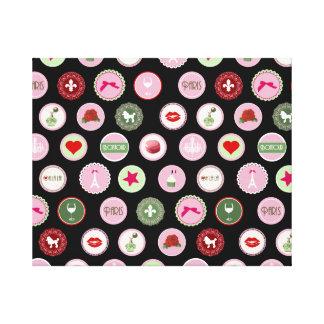 Pink Paris love girly pattern Canvas Print