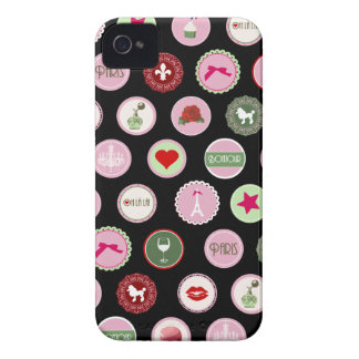 Pink Paris love girly pattern iPhone 4 Cases