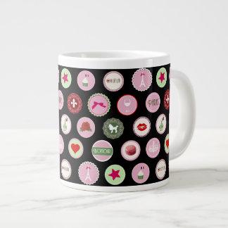 Pink Paris love girly pattern Giant Coffee Mug