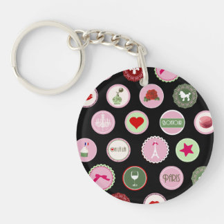 Pink Paris love girly pattern Double-Sided Round Acrylic Keychain