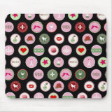 Pink Paris love girly pattern Mouse Pad