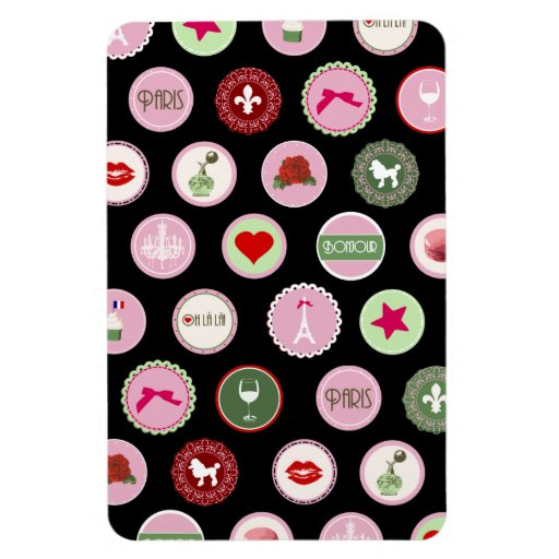 Pink Paris love girly pattern Rectangle Magnets