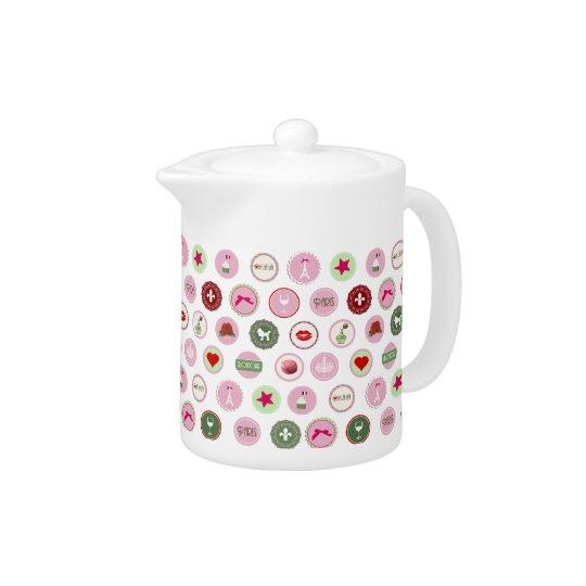 Pink Paris love girly pattern Teapot