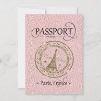 Pink Paris Passport Save the Date Card