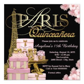 Pink Paris Quinceanera Card
