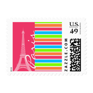 Pink Paris; Retro Neon Rainbow Postage