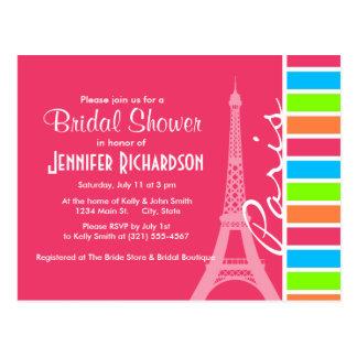 Pink Paris; Retro Neon Rainbow Postcard