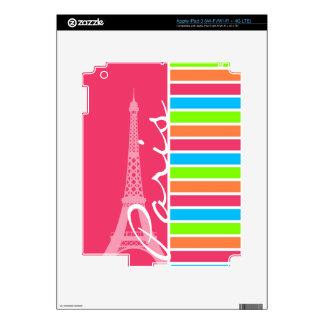 Pink Paris; Retro Neon Rainbow iPad 3 Decals