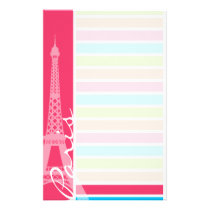 Pink Paris; Retro Neon Rainbow Stationery