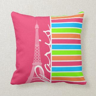 Pink Paris; Retro Neon Rainbow Throw Pillow