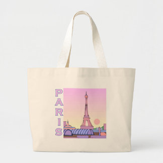Pink Paris Sunset Products Large Tote Bag
