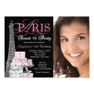 Pink Paris Sweet 16 Birthday Party Card