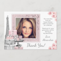 Pink Paris Sweet 16 Thank You Cards