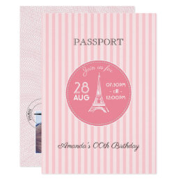 Pink Paris Theme Birthday Party Passport add photo Card