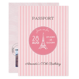 Pink Paris Theme Birthday Party Passport add photo Card