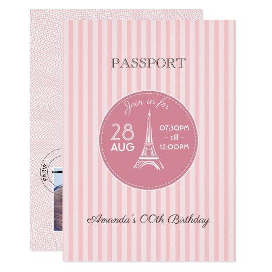 Pink Paris Theme Birthday Party Passport Add Photo Invitation