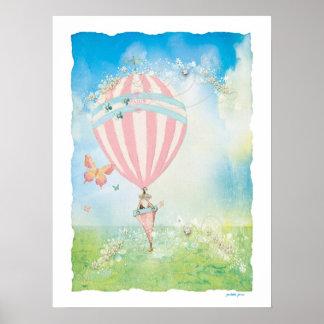 Pink Paris Watercolor D Aire Balloon Poster