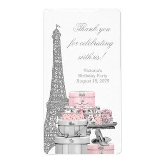 Pink Paris Wine Bottle Labels